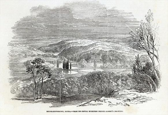 Reinhardtsbrunn, Gotha, engraved by W.J. Linton, from 'The Illustrated London News', 30th August 1845