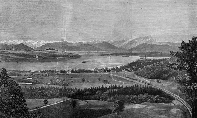 The Starnberg Lake, near Munich, where the late King of Bavaria drowned himself, from 'The Illustrated London News', 26th June 1886