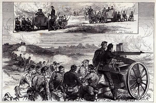 The Nordenfeldt Guns at Aldershott, from the Illustrated London News, September 1885