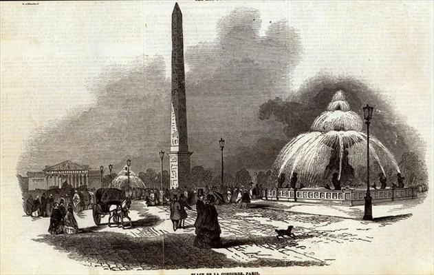 Place de la Concorde, Paris, from The Illustrated London News, 2nd August 1845