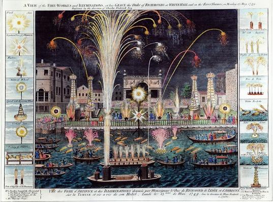 A view of the Fire-workes and Illuminations at his Grace the Duke of Richmond's at White-hall and on the River Thames, on Monday 15 May, 1749