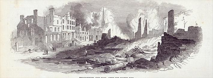 Broad-street, New York, after the recent fire, from 'The Illustrated London News', 23rd August 1845