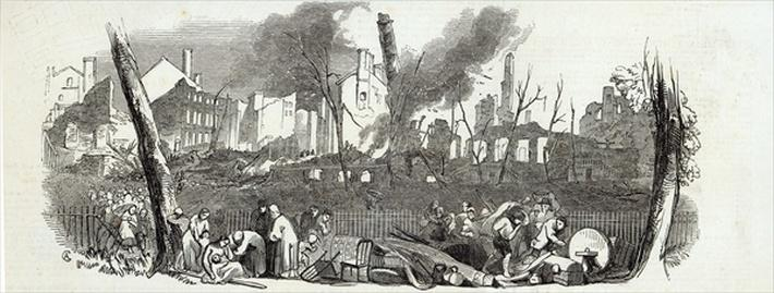 The Bowling-green and Marketfield-street, New York, from The Illustrated London News, 23rd August 1845