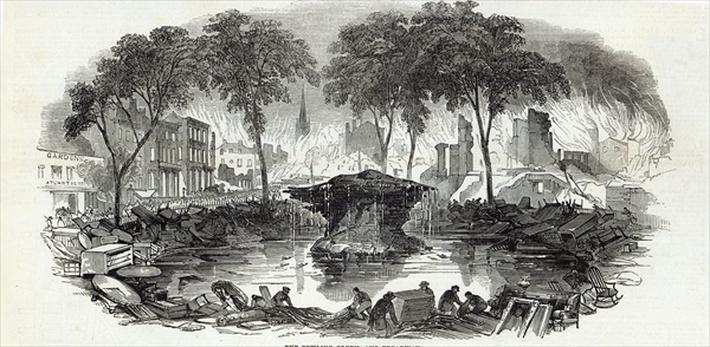 The Bowling-green and Broadway, New York, from The Illustrated London News, 23rd August 1845