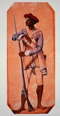 Soldier of Tipu Sultan, Sultan of Mysore, armed with a flintlock musket