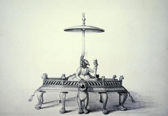 Tipu Sultan seated on his throne, Mysore