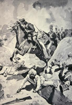 Thackwell leads the 3rd Light Dragoons through Sikh Earthworks, Battle of Sobraon, 10th February 1846