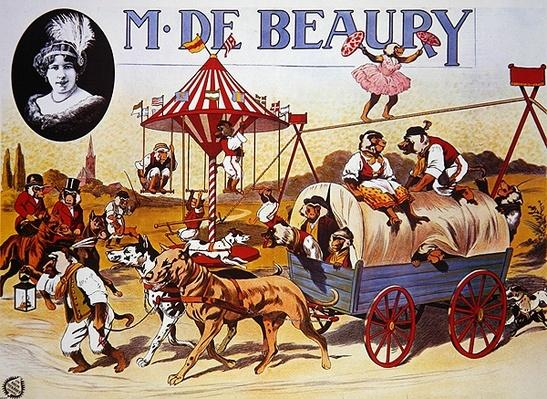 Poster advertising the 'M. De Beaury' animal circus, 1915