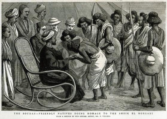 The Soudan: Friendly natives doing homage to the Sheik el Morgani, from 'The Graphic', 19th April 1884