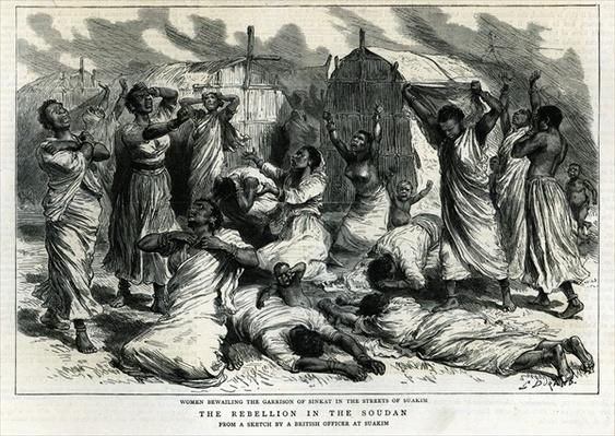Women bewailing the garrison of Sinkat in the streets of Suakim, The Rebellion in the Soudan, from 'The Graphic', 8th March 1884