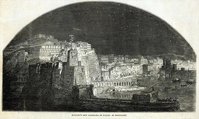 Burford's New Panorama of Naples by Moonlight, from 'The Illustrated London News', 11th January 1845