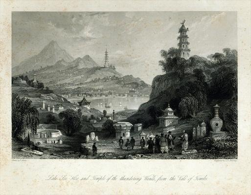 Lake See-Hoo and the Temple of the Thundering Winds, from the Vale of Tombs, engraved by J.C. Bentley, 1843