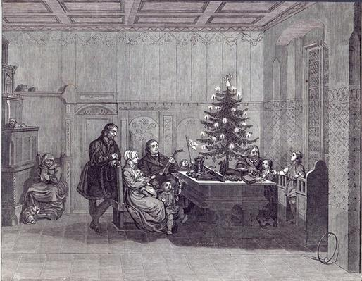 Christmas Eve in Germany: Martin Luther and his family, from 'The Illustrated London News', 26th December 1846