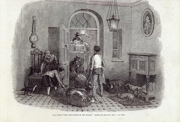 "Christmas: ""The Compliments of the Season"", engraved by Linton, from 'The Illustrated London News', 26th December 1846"