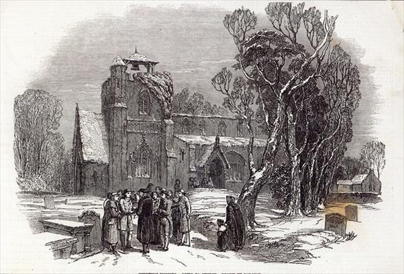 Christmas morning: Going to Church, engraved by W.J. Linton, from 'The Illustrated London News', 26th December 1846