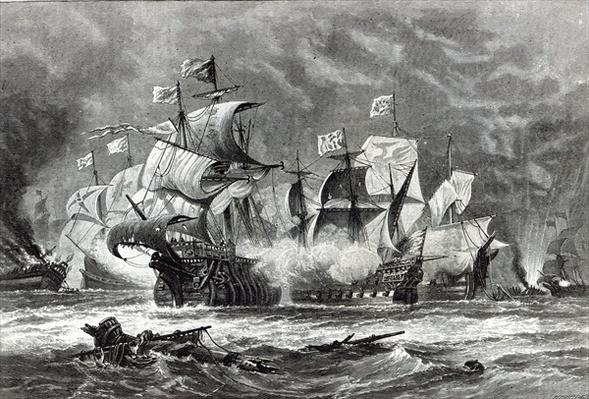 The Vanguard, under Sir William Winter, engaging the Spanish Armada, from 'Leisure Hour', 1888