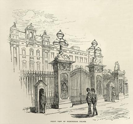 Front view of Buckingham Palace, from 'Leisure Hour', 1888