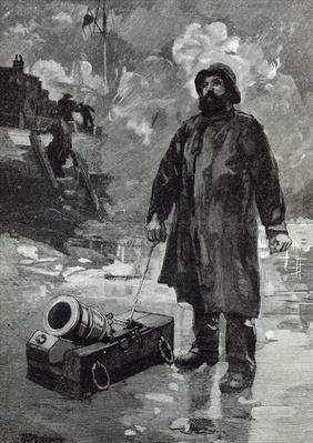 Waiting for the signal, from 'Leisure Hour', 1888