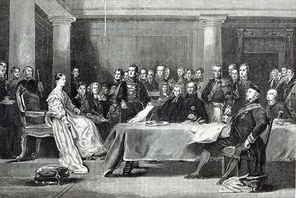 The Queen's First Council, from 'Leisure Hour', 1888
