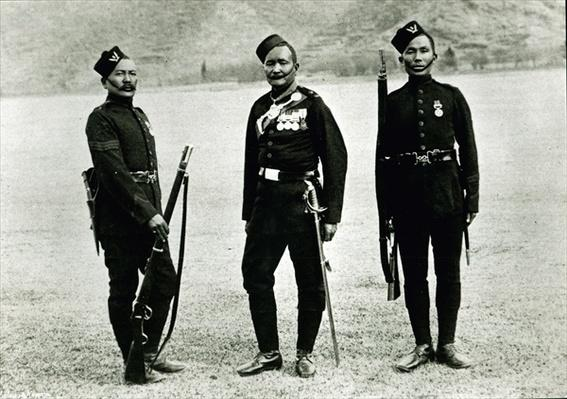 Officer, Sergeant and Private of the 5th Gurkha Rifles, 1897