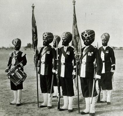 'Rattray's Sikhs' the 45th Sikhs a colour party, 1897