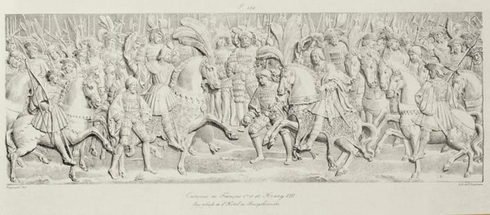 Meeting of Francois I and Henry VIII at the Field of the Cloth of Gold, after the carved stone relief in the Hotel de Bourgtheroulde, Rouen, Normandy, 1501-37, engraved by Godefroy Engelmann