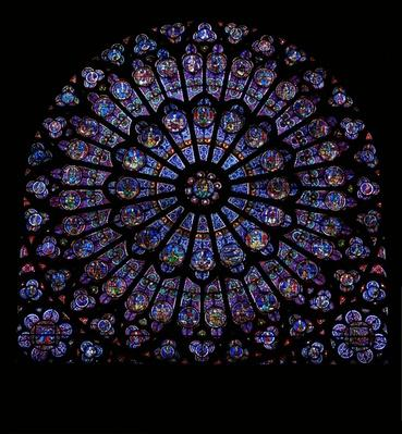 The north rose window: Glorification of the Virgin Mary with Kings and Prophets