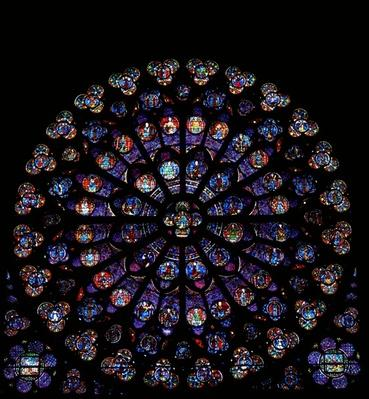 The south rose window: a mixture of angels, apostles, martyrs and miscellaneous scenes