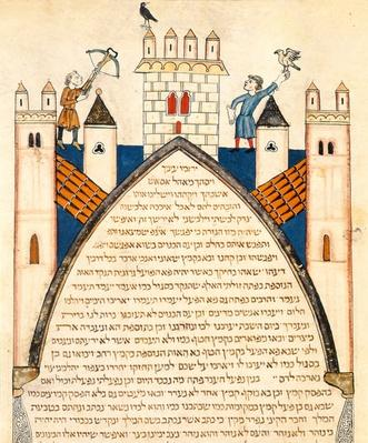 Hunting with falcons, illustration from the Jewish Cervera Bible, 1299