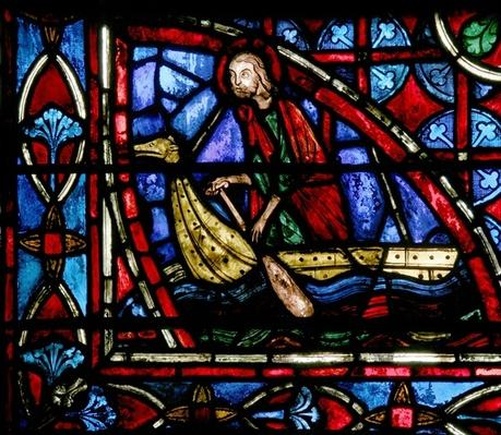 Window depicting a man in a boat