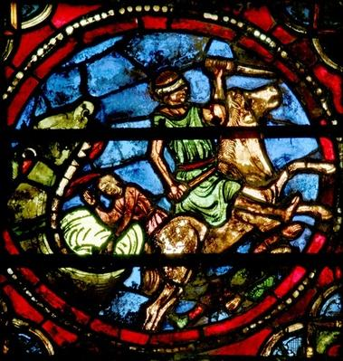Window depicting Jonah being swallowed by the whale
