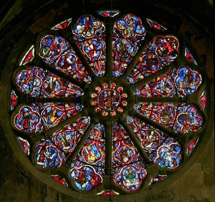 Rose window depicting the Apostles and Labours of the Months