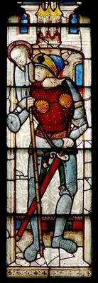 Window depicting an 'Enemy of the Church'