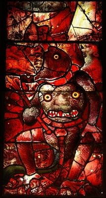 Window depicting Satan