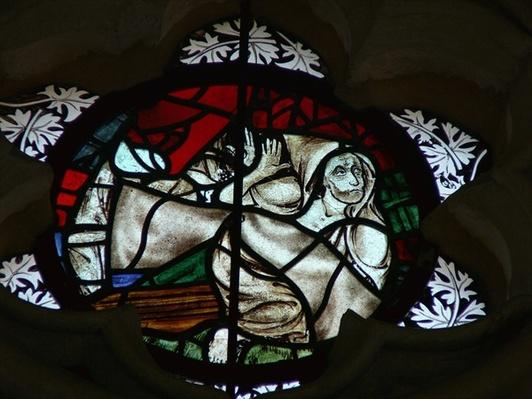 Window depicting a Soul rising at the Last Judgement
