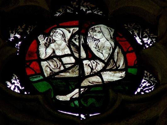 Window depicting Souls rising at the Last Judgement