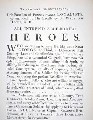 British recruitment poster for the First Battalion of Pennsylvania Loyalists, during the American Revolutionary War