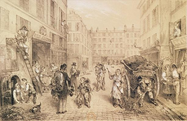 Scenes and Morals of Paris, from 'Paris qui s'eveille', printed by Lemercier, Paris