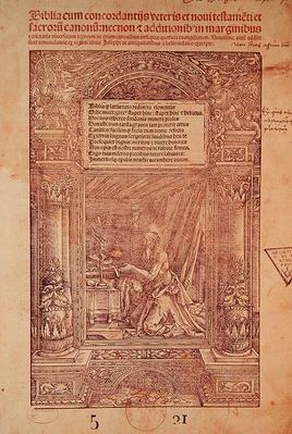St. Jerome in his Studiolo, title page of a Bible, printed by J. Marion, Lyon, 1521