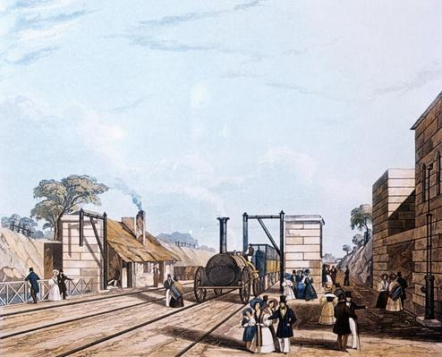 Liverpool and Manchester Railway: Taking water at Parkside, 1831