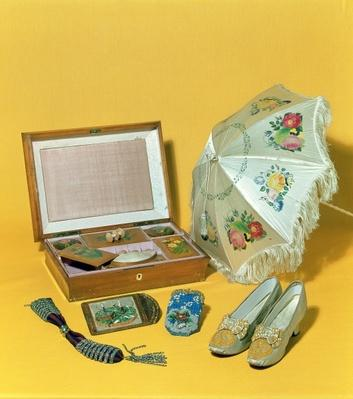 Victorian carriage parasol, bead bag, cardcase and shoes