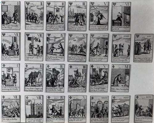 Playing cards depicting episodes from the 'Glorious Revolution' of 1688-89, c.1689