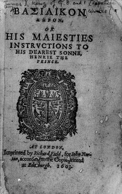 Basilicon Doron, 1603