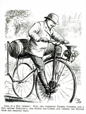 Cartoon making fun of the early days of Bicycles