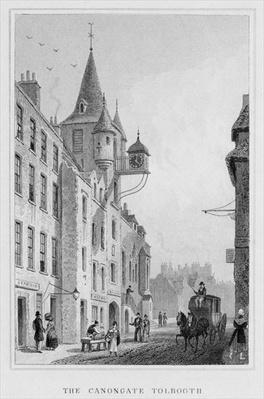 The Canongate Tolbooth, Edinburgh, engraved by Thomas Barber, 1829