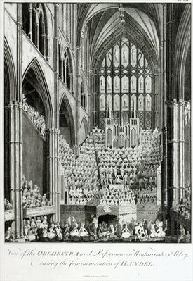 View of the Orchestra and Performers in Westminster Abbey, during the Commemoration of Handel, published by Charles Burney, 1785