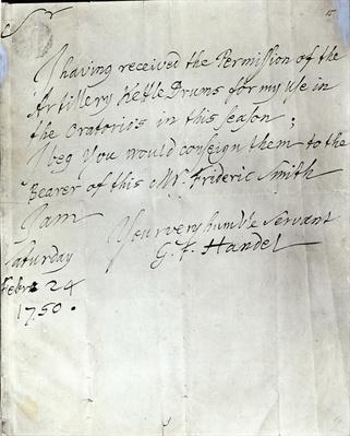 Letter from George Frederick Handel dated February 24th 1750