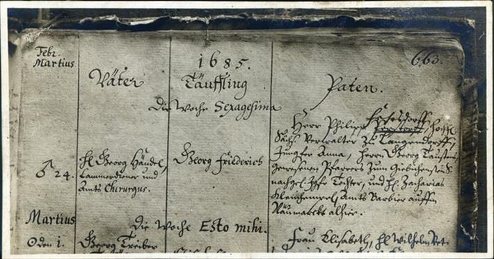 Entry of Handel's Baptism from the Church Register of Marktkirche, Halle, Germany, 1685