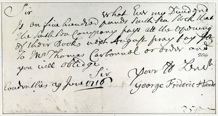 Letter written by Handel, June 1716