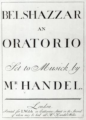 Cover of the score for Belshazzar by Handel, published in 1745